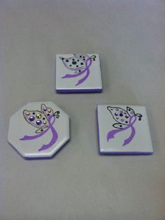 Relay For Life Fundraiser - Hand Painted Ceramic Magnets set of 3 - Cancer Awareness Ribbon. $6.75, via Etsy. TEAM FEARLESS!