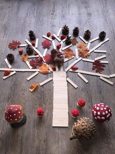 A fun way to build with natural materials. Using your imagination to build and create. Forest School Activities, Autumn Activities, Activities For Kids, Autumn Crafts, Autumn Art, Autumn Theme, Fall Preschool, Preschool Crafts, Preschool Centers