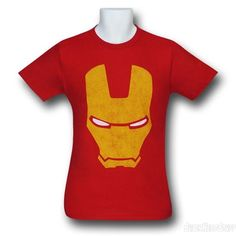 Images of Iron Man Distressed Gold Head 30 Single T-Shirt
