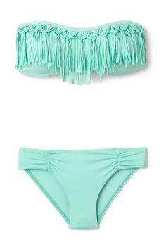 teal fringe bikini want this sooooo bad I wish they had this in vintage!!!!!!