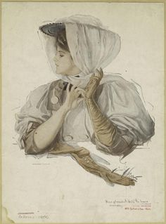Gibson girl with gloves