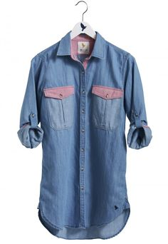 The SIMPLE SHIRT WITH POCKET - Women's shirt - LONGER LENGTH, PATCH POCKET SHIRT - Chambray Multi - MiH