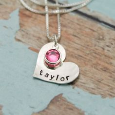 Sweetheart Necklace with Birthstone - Hand Stamped - Personalized - Sterling Silver #PersonalizedJewelry #SweetAndSimple #TracyTayanDesigns #BirthstoneJewelry #Customized #HeartNecklace #GirlsNecklace #NewMommyNecklace #HeartJewelry #HandStampedJewelry