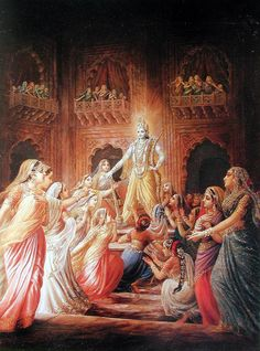 Lord Krishna appeared in this world on 19th July 3228 BC (or 8th day of the dark half of the month of sravan or in Rohini Nakshatra, 8, 63,874 years 4 months 20 days of Dwapar Yuga). Shree Krishna married Princess Rukmani- Laxmi . Lord Krishna manifested His earthly pastimes for 125 years. He returned to Spiritual world on 18th Feburary 3102 BC and this is the date of the start of Kaliyuga- the current age (millennium which lasts for 4,32,000 years).