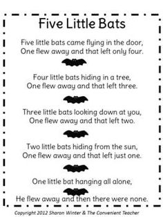 Five Furry Bats: A Math and Literacy Pack for Preschool and Kindergarten Preschool Music, Fall Preschool, Preschool Themes, Preschool Lessons, Halloween Songs Preschool, Halloween Songs For Toddlers, Halloween Nursery Rhymes, Bat Activities For Kids, Halloween Crafts