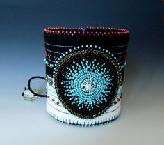 Turquoise and Coral Red Bead Embroidered Xhosa Cuff by Beadweaver, $115.00