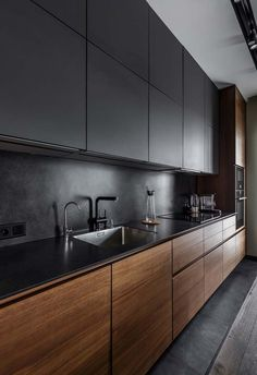 Cozinha preta sóbria