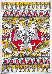 Madhubani Paintings Peacock, Madhubani Art, Pichwai Paintings, Indian Paintings, Gond Painting, Fabric Painting, Art Indien, Kunst Der Aborigines, Indian Folk Art