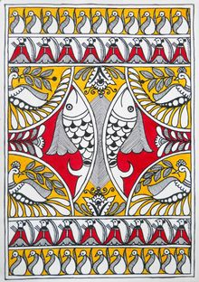 Madhubani fish painting