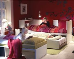 Get the best sofa bed with these modern sofa bed designing ideas including different sizes and styles of sofa beds for single or double usage and also for kids. Girl Bedroom Designs, Girls Bedroom, Ikea Small Bedroom, Daybed In Living Room, Sleepover Room, Sofa Bed Design, E Room, Bed Frame With Storage, Kids Room Design