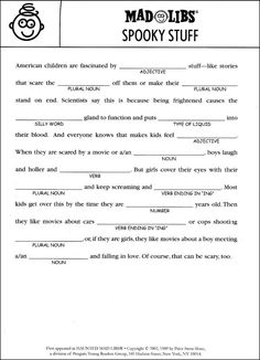 Printable Halloween Mad Libs for Kids | Mad, Holidays and Activities