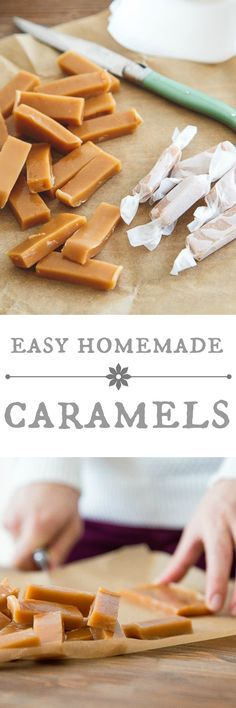 Great food gift r… Easy homemade caramels. Caramel Recipes, Candy Recipes, Sweet Recipes, Holiday Recipes, Baking Recipes, Dessert Recipes, Snack Recipes, Homemade Caramels, Homemade Candies