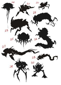 silhouette sheet 2 Character Model Sheet, Character Modeling, Character Concept, Concept Art, Monster Design, Monster Art, Thumbnail Sketches, Character Design Animation, Creature Concept