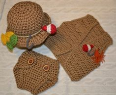Crochet Fishing Hat Vest and  Diaper Cover photo by aStitchSouth, $45.00