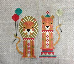 Cross stitch kit Lollipop Lions circus theme by FoxYouAreSoCrafty