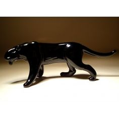 Glass Panther $24.95 http://www.glasslilies.com/207-glass-panther.html #Glass #Panther #GlassArt #BlownGlass #Animals #Wild #Gifts