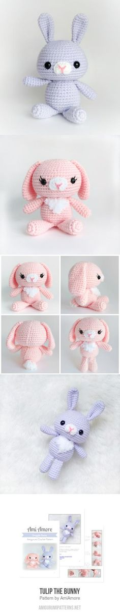 Tulip The Bunny Amigurumi Pattern Crochet Bunny, Crochet Dolls, Knit Crochet, Crochet Animal Patterns, Crochet Animals, Amigurumi Toys, Amigurumi Patterns, Knitting Projects, Crochet Projects