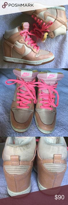 """Sky High Dunk Nike Sky Highs with pink Shimmer and neon pink laces. Hidden wedge is about 2.5"""" so fun and comfortable! Nike Shoes Sneakers"""