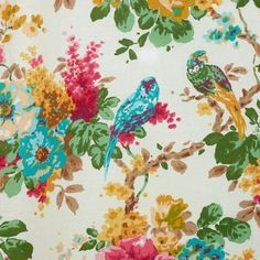 Like an impressionist painting, the parrots and flowers on our Parrot Bird Ornithology Curtain bring an artful appeal to your home decor. You'll love how this gorgeous pattern brightens up any space. Bird Curtains, Flower Curtain, Curtain Fabric, Parrot Pet, Parrot Bird, World Market Curtains, Curtain World, Curtain Patterns, Impressionist Paintings