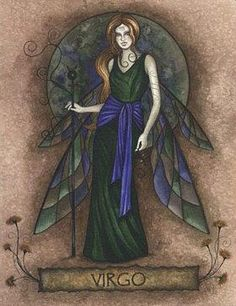 Fairy and fantasy art images, fairy pictures & drawings, flower and butterfly illustrations from Fairies World. Fairies World, Fairy & Fantasy Art Gallery - Jessica Galbreth/Virgo Fairy© Tarot, Zodiac Art, Zodiac Signs, Virgo Art, Sagittarius, Art Zodiaque, Dragons, Earth Symbols, Signo Virgo