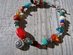 Southwestern Style Bracelet Gemstones Silver by gristmilldesigns, $16.95
