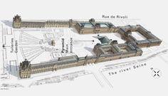 The Louvre Museum map - Map of The Louvre Museum (France) Paris Map, Paris Travel, Monuments, Illustration Paris, Palais Des Tuileries, Louvre Pyramid, Paris Architecture, Ancient Architecture, Architecture Sketches