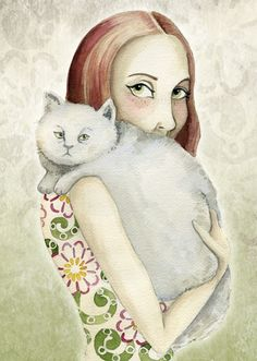 """Redhead Cat Lady"" by Elli Maanpää from Helsinki, Finland - Browse more cat art at http://pussiesonparade.com/"