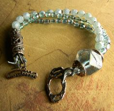 """I love the combination (juxtaposition) of """"pretty sparkly dainty"""" with rustic metal in this bracelet by ChrysalisTribalJewelry."""