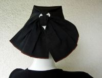 GILBERT ADRIAN - ADRIAN BLACK FAILLE TOQUE HAT WITH BACK BOW