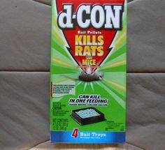 1 Box D-Con Bait Pellets For Mice/Rats Brodifacoum 3.0 oz  4 Bait Trays #dCon