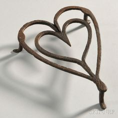 Wrought Iron Heart-shaped Trivet, America, late 18th/early 19th century