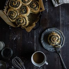 black sesame rolls w/ yuanyang coffee-tea glaze • two red bowls