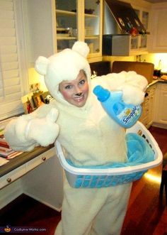 """Snuggle Fabric Softener Bear - 2012 Halloween Costume Contest. I love it. These kind of costumes are sooooo much better than the boring, tacky, """"slutty costumes"""". Funny trumps sexy! Funny IS sexy(ier)!"""