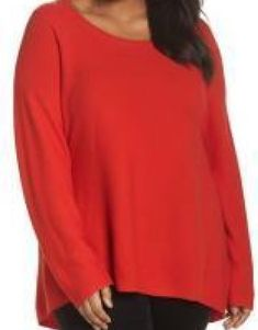 fc8ce3d1a052f Eileen Fisher Plus Size 1X Organic Cotton High low Tunic Sweater Red Long  Sleeve