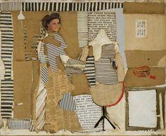 """Conrad Marca-Relli, """"The Dressmaker""""  circa 1982, collage on canvas, 28x34 inches"""