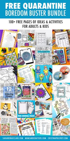 Free Quarantine Boredom Buster Bundle - Sarah Renae Clark - Coloring Book Artist and Designer Geometric Coloring Pages, Mandala Coloring Pages, Free Coloring Pages, Printable Coloring, Coloring Books, Colouring, Activities For Adults, Indoor Activities, Easy Arts And Crafts