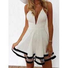 Sexy Spaghetti Strap Sleeveless Low Cut Spliced Women's Dress