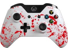 Glossy White Custom Controller with Red Blood by EvilControllers