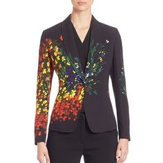 Escada Women's Hand-Painted Long Sleeve Jacket - Fantasy ($500) ❤ liked on Polyvore featuring outerwear, jackets, apparel & accessories, fantasy, escada jacket, lapel jacket, long sleeve shawl, long sleeve jacket and shawl jacket
