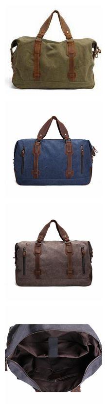 """Oversized Canvas Leather Trim Travel Tote Duffel shoulder handbag Weekend Bag AF11 Model Number: AF11 Dimensions: 17.7""""L x 6.7""""W x 12.6""""H / 45cm(L) x 17cm(W) x 32cm(H) Weight: 3.3lb / 1.5kg Hardware:"""