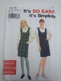 Vintage jumper 1996 sewing pattern Bust 30 31 by RollItAgainVegas