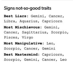 12 Zodiac Signs Not So Good Traits. Cancer ♋ Zodiac Sign - best liars, most mischievous, most manipulative, best mastermind.