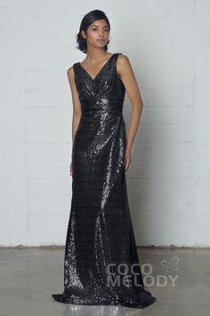 Impressive Sheath-Column V-Neck Natural Floor Length Sequined Sleeveless Zipper Pleating COZF17021 #sparkingdresses #occasiondresses #sequineddresses #metallicdresses #cocomelody #blackdresses