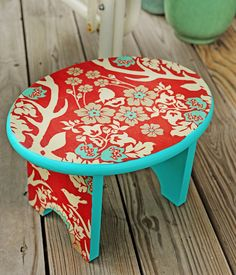 Upcycle a stool with Mod Podge, paint and some cool fabric.