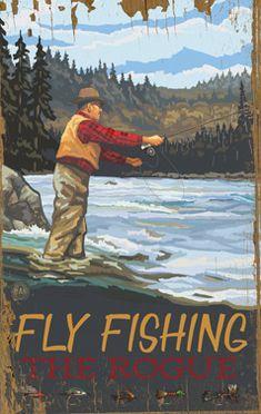CUSTOMIZABLE Fly Fishing Vintage Wood Sign Art