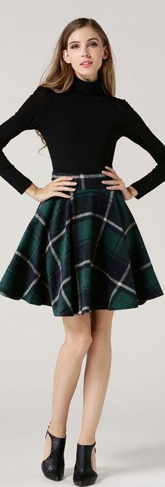 Green Plaid Wool Skirt