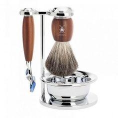 Muhle-Vivo-Gillette-Fusion-Razor-and-shaving-Brush-4-Piece-Set-Plum-Tree-Wood-S-81-H-331-SF