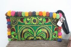 Clutch Purse Pom Pom Wristlet Hill Tribe Fabric Vintage Fashionable Handmade Fair Trade Thailand (BG810P-GB2)