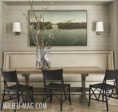 banquette, wall, table, lighting