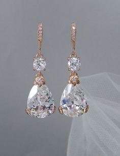Rose Gold Bridal Earrings Drop Wedding Earrings por CrystalAvenues